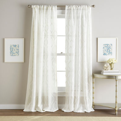 Hourglass Embroidered Rod-Pocket Sheer Curtain Panel