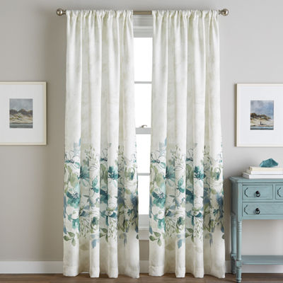 Watercolor Flippable Rod-Pocket Curtain Panel