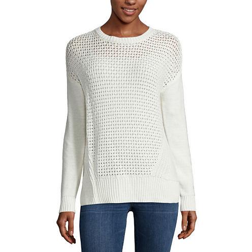 Stylus™ Long-Sleeve Pointelle Textured Sweater - Petite