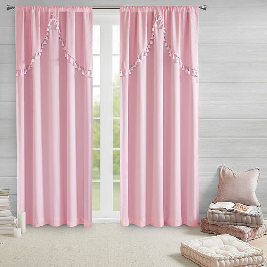 Intelligent Design Mia 100% Blackout Rod-Pocket Panel with Attached Scallop Tassel Valance