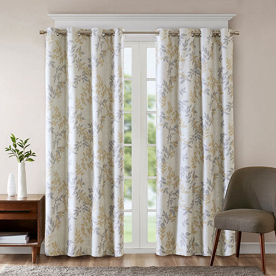 Sunsmart April Leaf Energy Saving Blackout Grommet-Top Single Curtain Panel