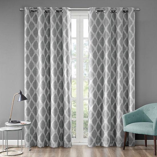 Sunsmart Kagen Ikat Geo Blackout Grommet-Top Single Curtain Panel