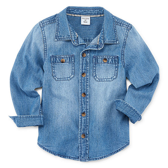 Okie Dokie Boys Long Sleeve Denim Button-Front Shirt Toddler