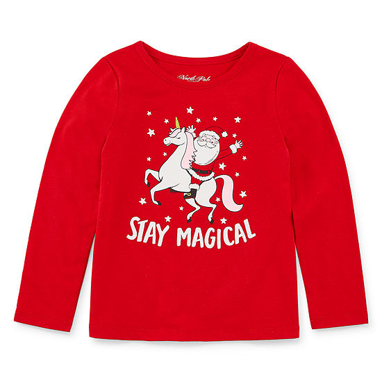 City Streets Christmas Girls Crew Neck Graphic T-Shirt-Toddler
