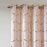 Intelligent Design Khloe Metallic Geometric Printed Energy Saving 100% Blackout Grommet-Top Single Curtain Panel