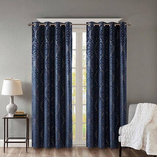 Sunsmart Elysia Knitted Jacquard Damask Energy Saving 100% Blackout Grommet-Top Single Curtain Panel