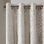 Sunsmart Elysia Knitted Jacquard Damask Energy Saving 100% Blackout Grommet-Top Single Curtain Panel