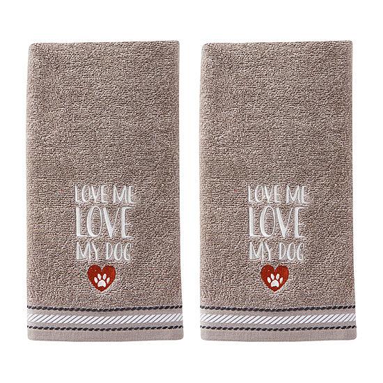 Saturday Knight Love Me Love My Dog 2-pc Hand Towel Set