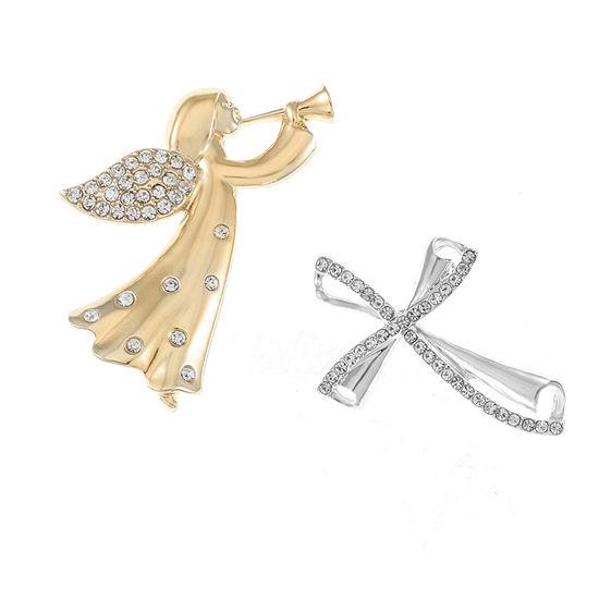 Liz Claiborne White Cross Pin