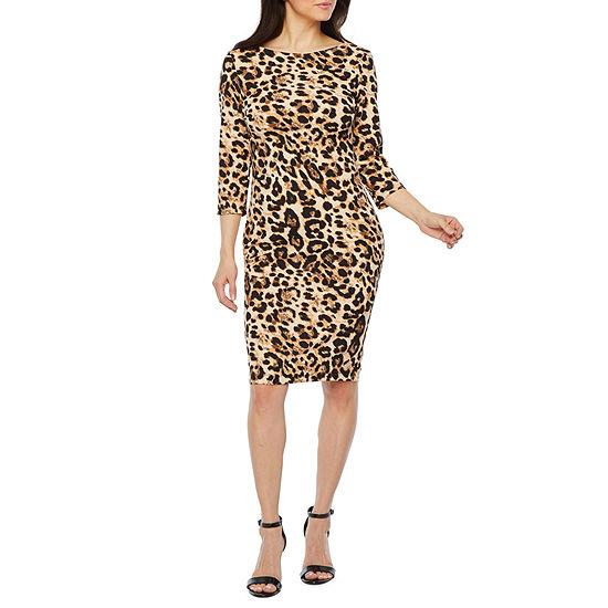 Premier Amour 3/4 Sleeve Animal Print Sheath Dress
