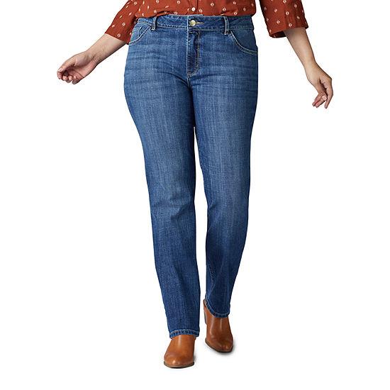 Lee - Plus Womens Mid Rise Stretch Straight Leg Jean