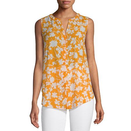 Liz Claiborne Womens Sleeveless Button-Down Shirt, X-large , Yellow