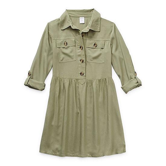 Arizona Little & Big Girls Long Sleeve Roll Tab Sleeve Shirt Dress