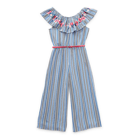 Beautees Big Girls Belted Short Cap Sleeve Jumpsuit