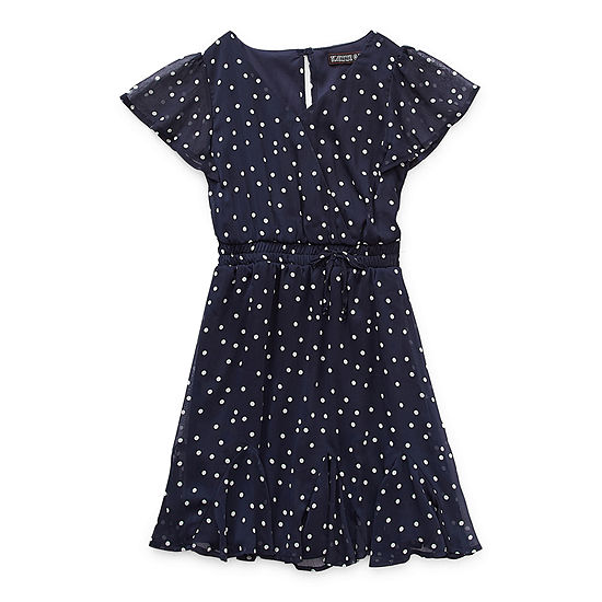 Trixxi Girl Big Girls Short Sleeve Dots A-Line Dress