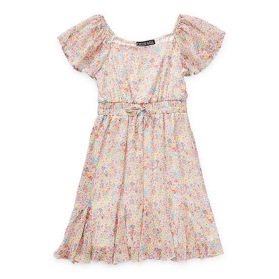 Trixxi Girl Big Girls Short Sleeve Floral A-Line Dress