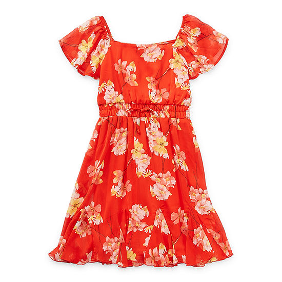 Trixxi Girl Big Girls Short Sleeve Floral A-Line Dress