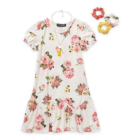Trixxi Girl Petal Big Girls Short Sleeve Fit & Flare Dress