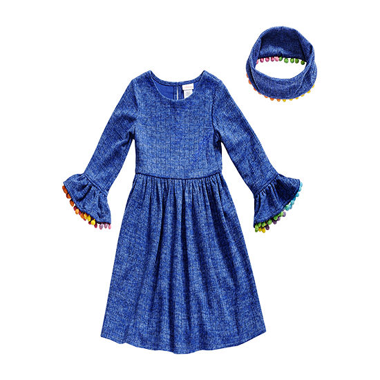 Emily West Little Girls Long Sleeve Sweater Dress