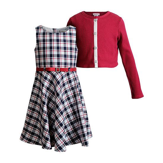 Sweet Heart Rose Cardigan Dress Little Girls Sleeveless Dress Set