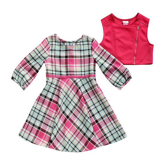 Youngland Little Girls Long Sleeve Dress & Vest Set