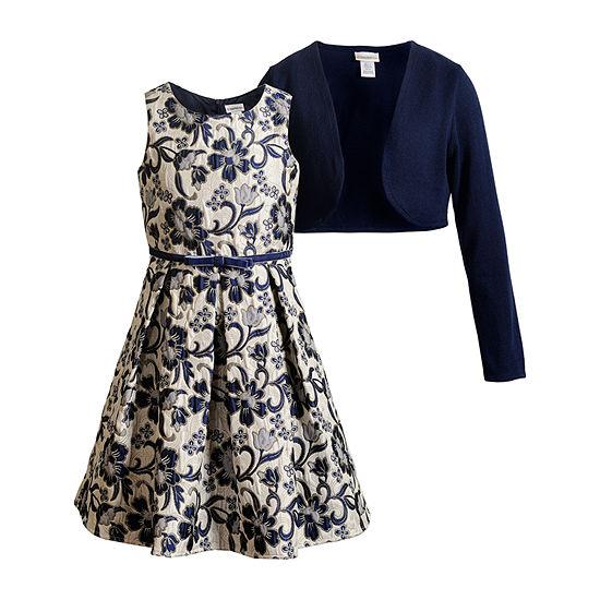 Emily West Cardigan Dress Little Girls Sleeveless 2-pc. Dress Set