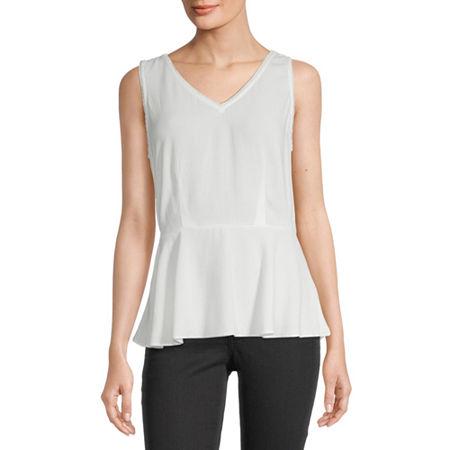 Worthington Womens V Neck Sleeveless Peplum Top, 10 , White
