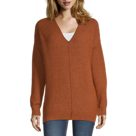 a.n.a Womens V Neck Long Sleeve Pullover Sweater, Small , Brown