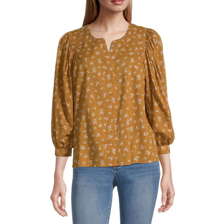 a.n.a Womens Split Crew Neck 3/4 Sleeve Blouse, X-small , Orange