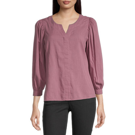 a.n.a Womens Split Crew Neck 3/4 Sleeve Blouse, X-small , Pink
