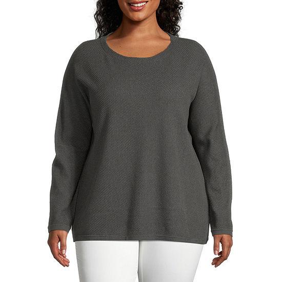 Liz Claiborne Round Neck Texture Sweater - Plus