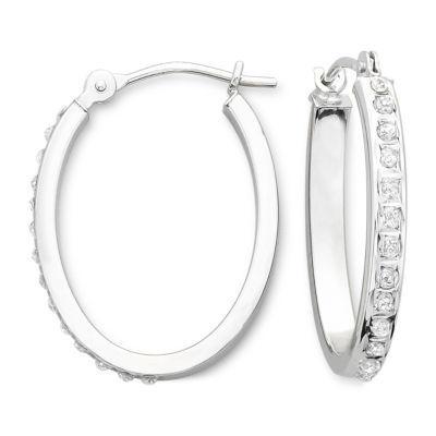 Diamond Fascination™ 14K Oval Hoop Earrings