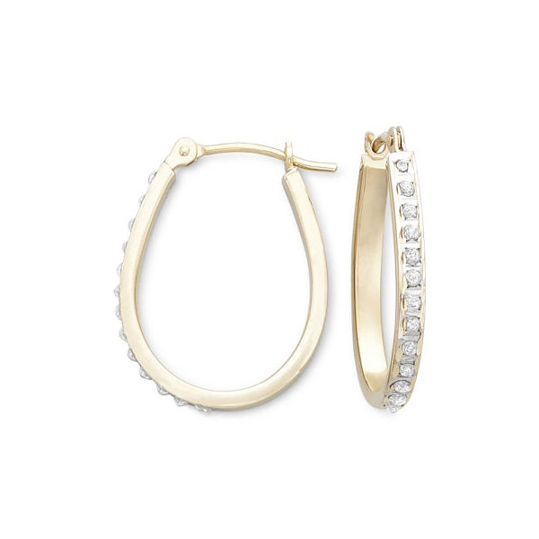 Diamond Fascination™ 14K Yellow Gold Pear-Shaped Hoop Earrings