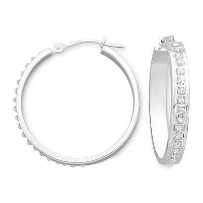 Diamond Fascination™ 14K White Gold Medium Hoop Earrings