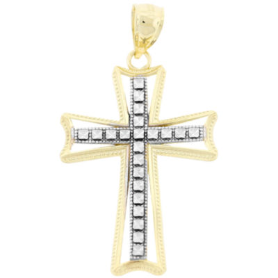Womens 10K Two-Tone Gold Cross Pendant