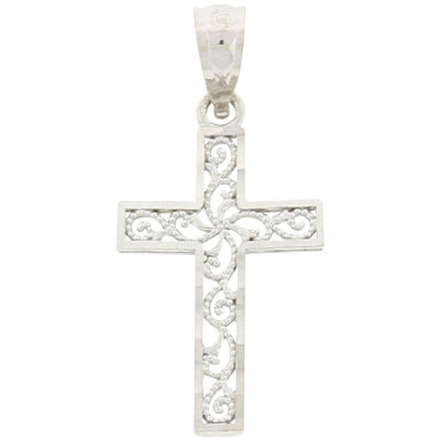 10K White Gold Cross Pendant