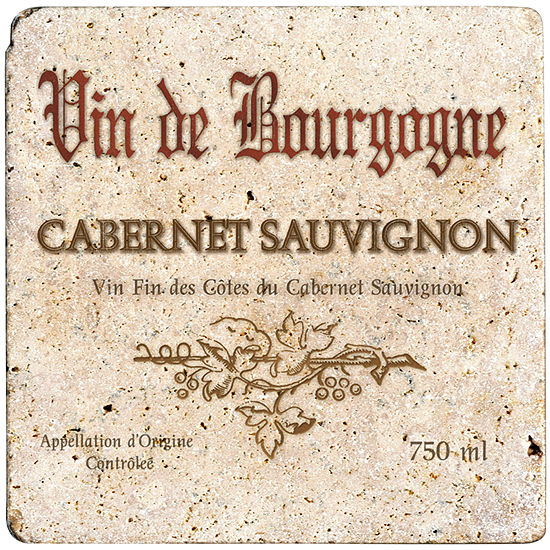 Thirstystone Cabernet Wine Label 8 Travertine Trivet