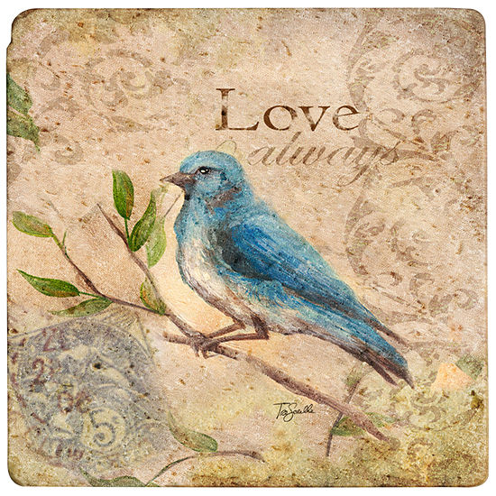 """Thirstystone® Love Songbird 8"""" Travertine Trivet"""