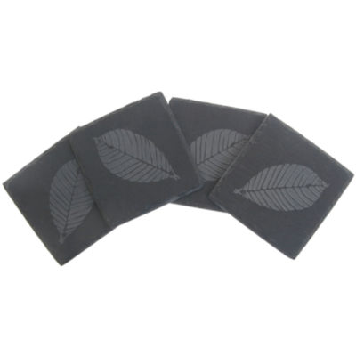 Thirstystone® Etched Leaf Set of 4 Slate Coasters