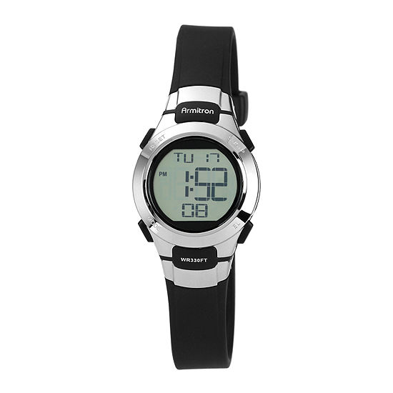 Armitron Womens Chronograph Multi-Function Digital Black Strap Watch-45/7012blk
