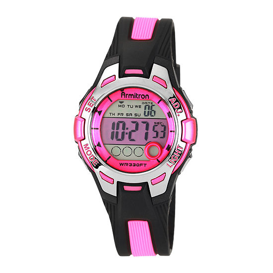 Armitron Pro Sport Womens Chronograph Multi-Function Digital Pink Strap Watch-45/7030pnk