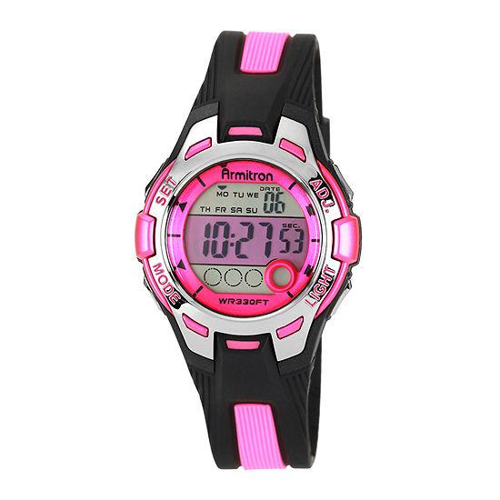 Armitron Pro Sport Womens Chronograph Multi-Function Digital Pink Strap Watch-45/7030pnkj