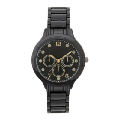 Womens Black Dial Crystal-Accent Watch