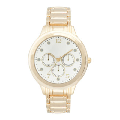Womens Silver-Tone Dial Crystal-Accent Watch