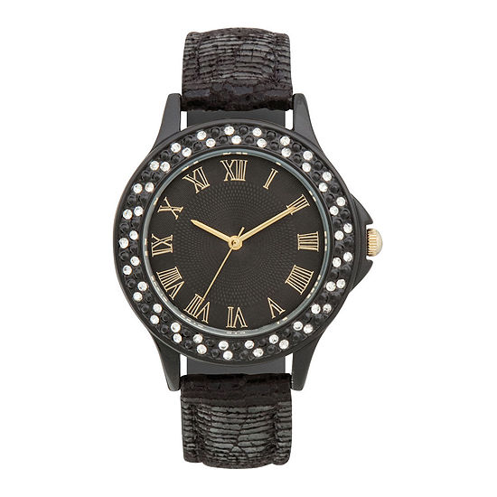 Womens Crystal-Accent Bezel Glitz Strap Watch