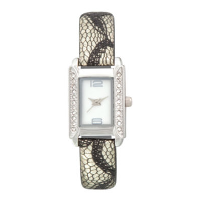 Womens Rectangular Crystal-Accent Glitz Strap Watch