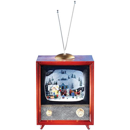 Musical Retro TV Figurine with Rotating Train