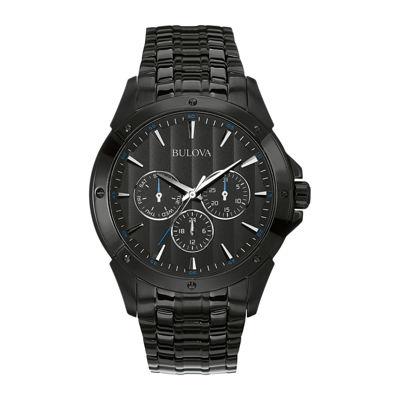 Bulova® Mens Black Stainless Steel Watch 98C121