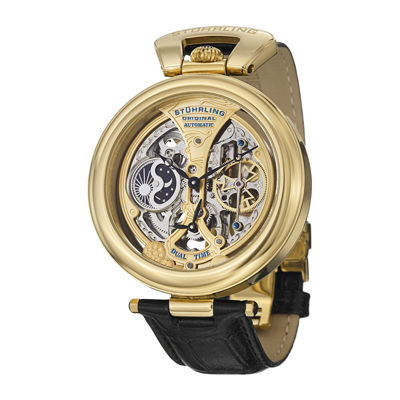 Stührling® Original Mens Black Leather Strap Skeleton Automatic Watch