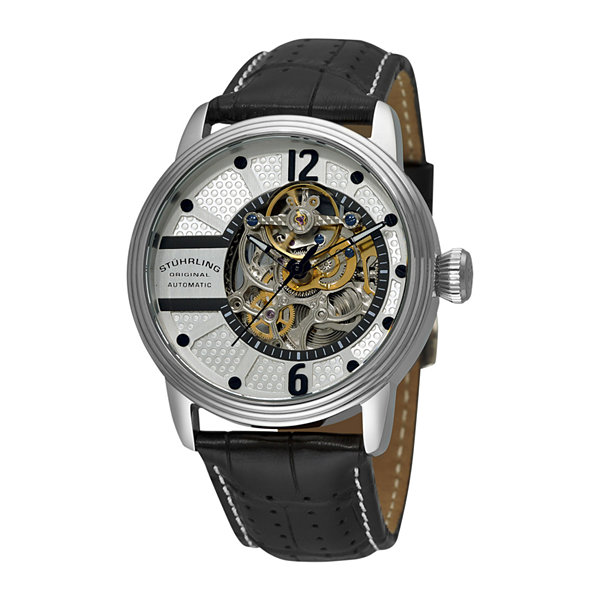 Stührling® Original Mens Black Leather Strap Skeleton Automatic Watch